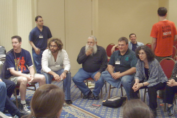 Readercon 2005, Paul Tremblay, Fred Cataldo (standing), Ajit George, Samuel Delany, Tk, Ellen Kushner