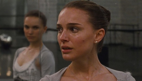 Natalie Portman in Black Swan senses her demonic double